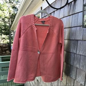 J. Jill | Cotton Blend Knit Button Cardigan Peach